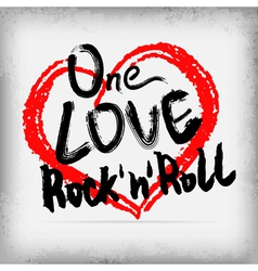 One love rocknroll poster handwritten design vector