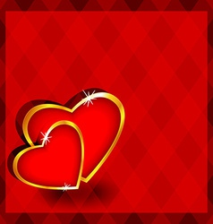 Red diamonds with hearts vector
