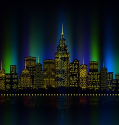 City lights cityscape colourful vector