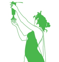 Woman holding cup vector