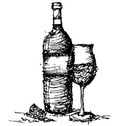 Sketch drawing of wine bottle and glass vector