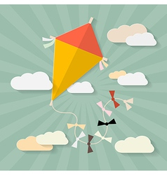 Retro paper kite on sky with clouds vector