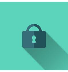 Blue padlock icon flat design vector