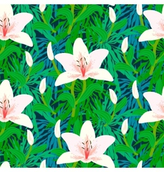 Floral pattern with tropical white lily flowers vector