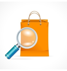 Isolated shopping bag with a magnifier vector