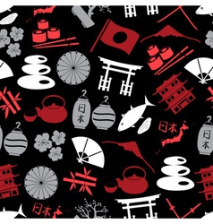 Japanese color icons seamless dark pattern eps10 vector