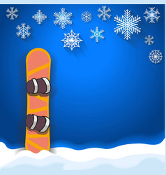 Winter sports poster background with snowboard vector