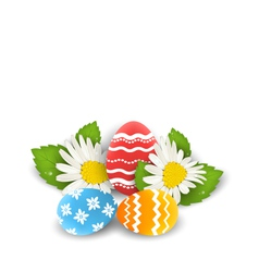 Traditional colorful ornate eggs with flowers vector