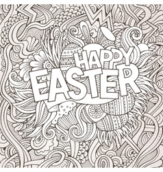 Easter hand lettering and doodles elements vector