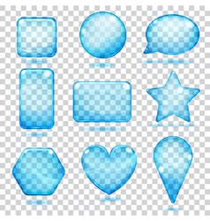 Transparent blue glass shapes vector