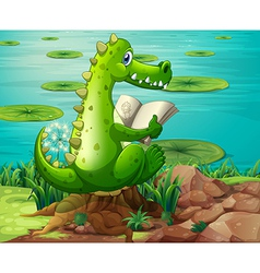 A crocodile reading near the pond vector