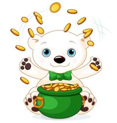 Polar bear juggles gold coins vector