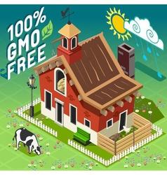 Isometric gmo free farming vector