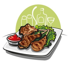 Roasted lamb chops vector