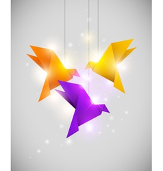 Origami bird light vector