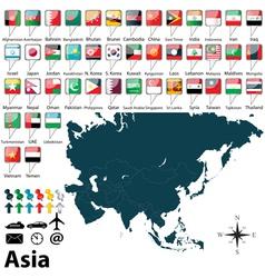 Political map of asia vector