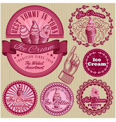Set of labels with ice cream for packing vector