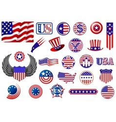 American patriotic badges symbols and labels vector
