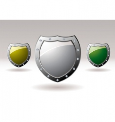 Metal shield icons vector