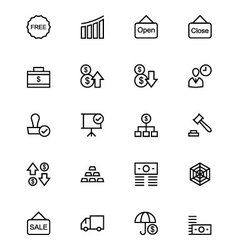 Business and finance line icons 6 vector