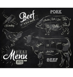 Meat menu chalk vector