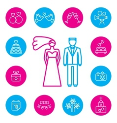 Wedding bride and groom flat icons set vector