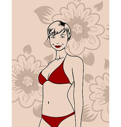 Girl in a bikini vector