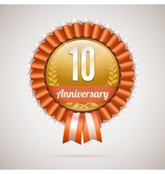 Anniversary golden badge with ribbons vector
