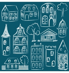 Set of sketched houses vector