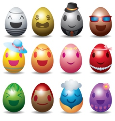 Easter eggs with smile emotion face set vector