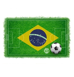 Brazil flag on soccer field with realistic grass vector
