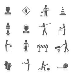Road worker black icon vector