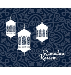 Hanging arabic lanterns for ramadan kareem holiday vector