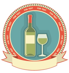 White wine bottle label symbol background vector