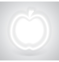 Glowing white apple with shadow vector