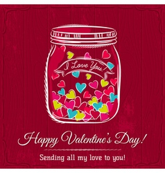 Red valentine card with jar filled with heart vector
