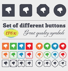 Dislike thumb down icon sign big set of colorful vector