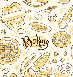 Beautiful hand-draw simpless pattern baking vector