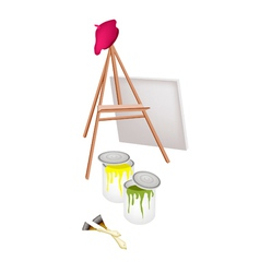 Easel and paint cans with brush and beret vector