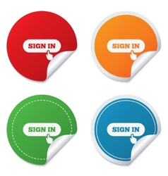 Sign in with hand pointer icon login symbol vector