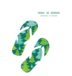 Holiday christmas trees flip flops silhouettes vector