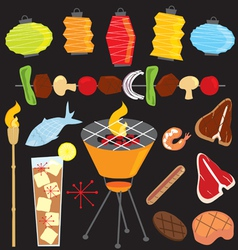 Evening retro bbq party icons vector
