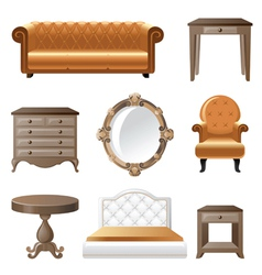 Retro-styled home furniture icons vector