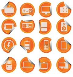Electronic technology device icon sticker style vector