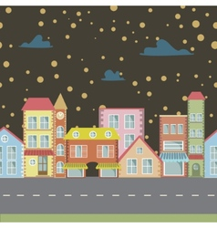 Night seamless cartoon town vector