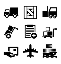 Shipping cargo warehouse and logistic icons set vector