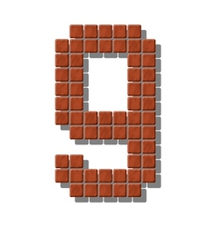 Number 9 made from realistic stone tiles vector