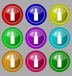 Bottle icon sign symbol on nine round colourful vector