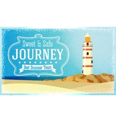 Journeys and tours advertisement with ocean beacon vector
