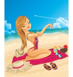 Young woman on vacation vector